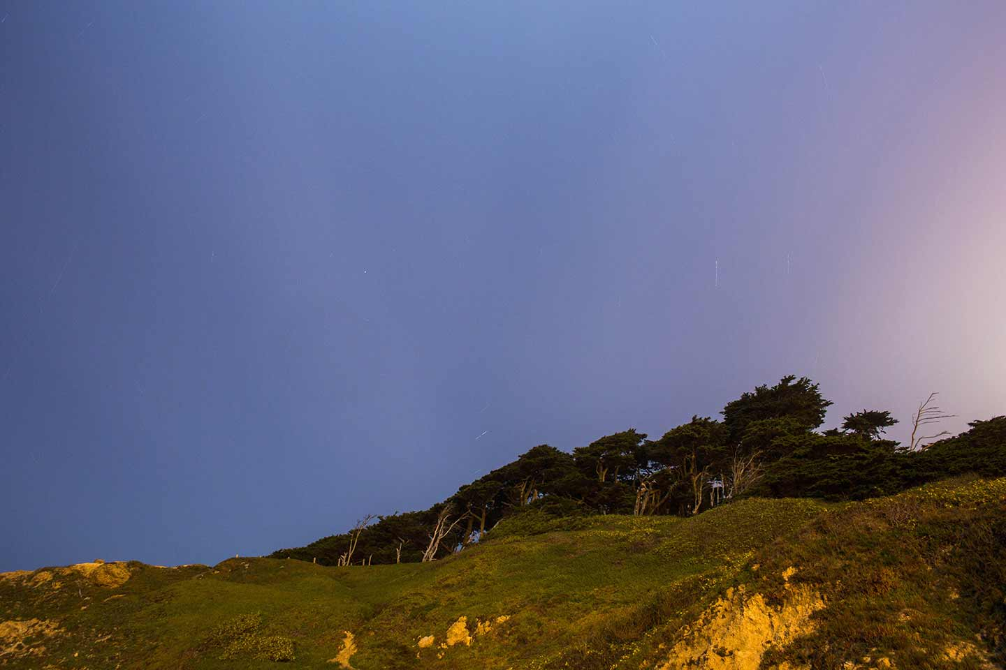 Photo of a dusk skyline above a grassy rockface covered in trees.